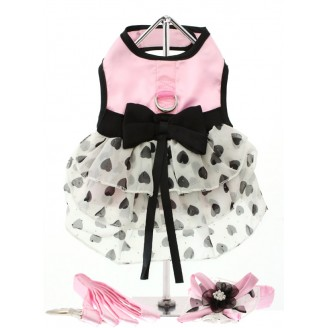 WALKIES | Pink Heart Dress, Collar & Lead Set