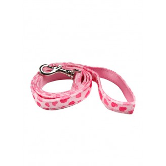 WALKIES | Pink Hearts Fabric Lead